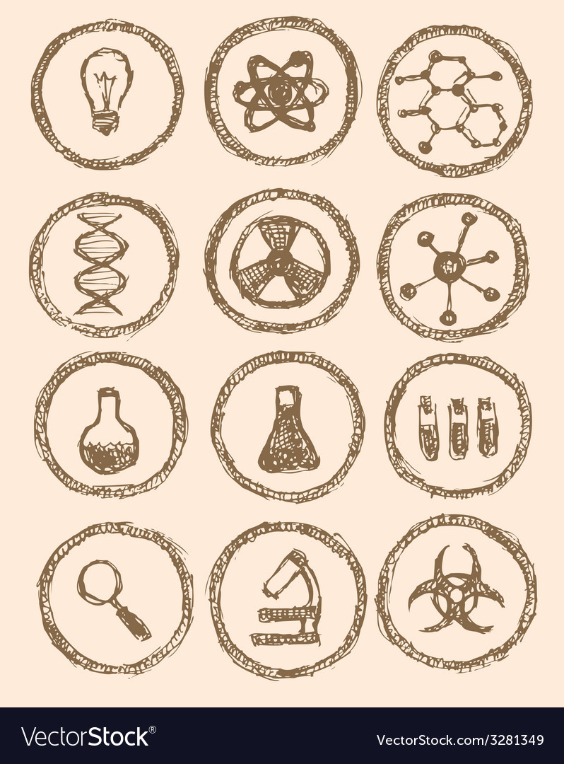 Sketch chemical icons in vintage style vector | Price: 1 Credit (USD $1)