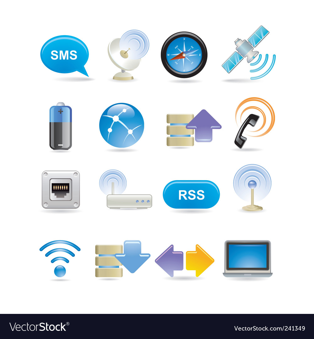 Wireless icon set vector | Price: 3 Credit (USD $3)