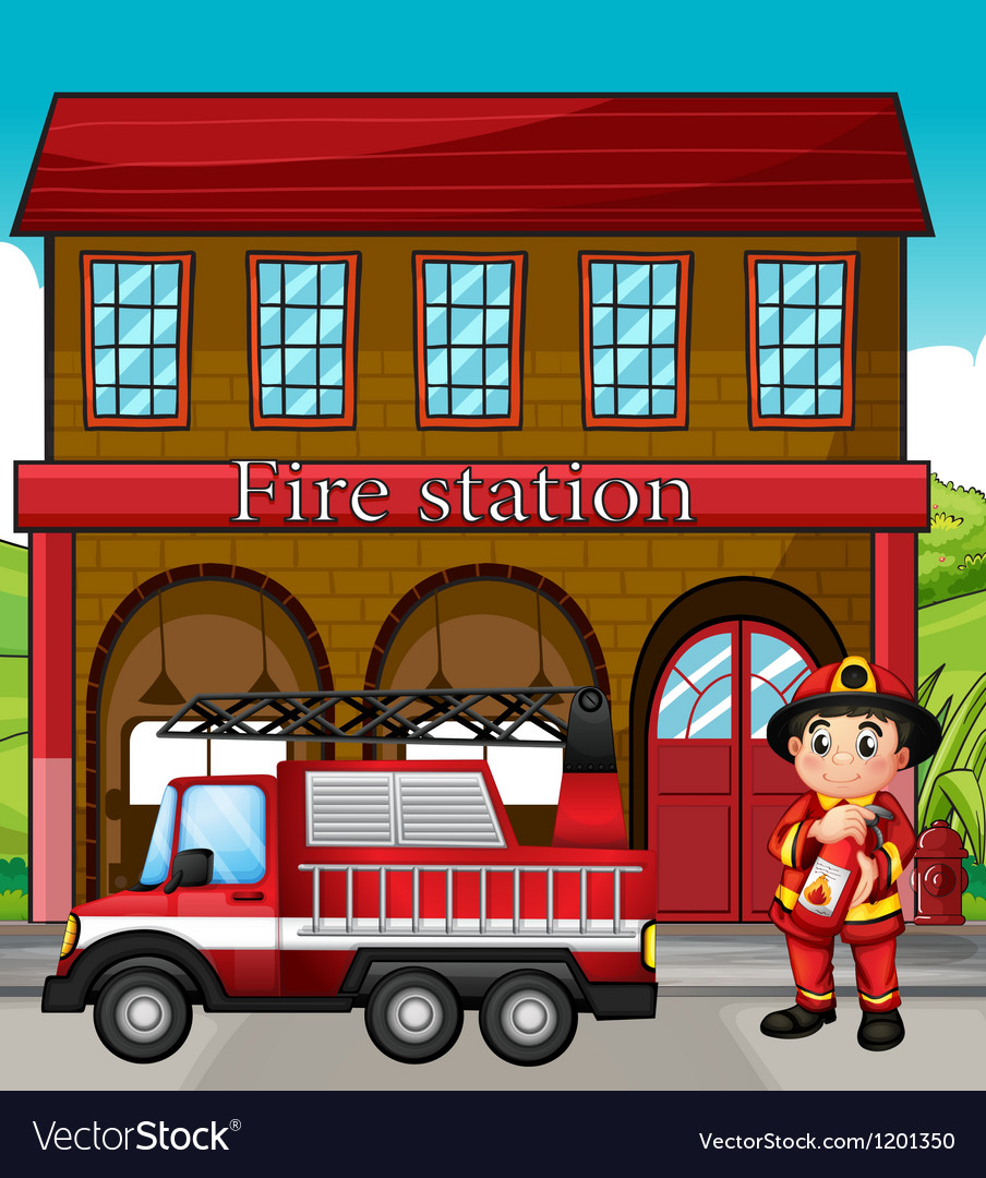 A fireman with a fire truck in a fire station vector