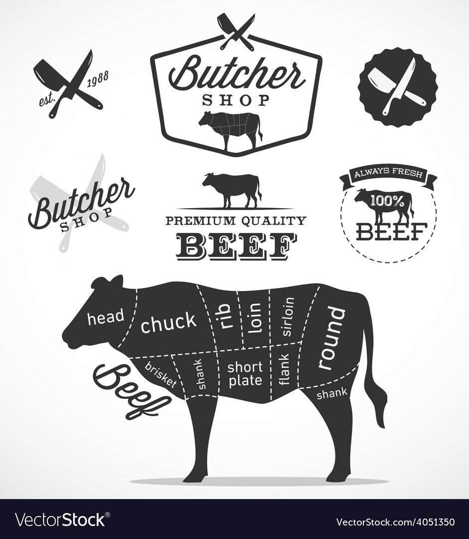 Beef cuts diagram and butchery design elements vector | Price: 1 Credit (USD $1)