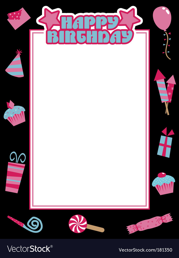 Black and pink birthday frame vector | Price: 1 Credit (USD $1)