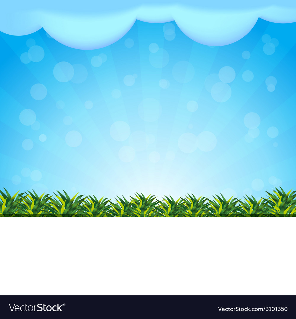 Blue background with grass vector | Price: 1 Credit (USD $1)