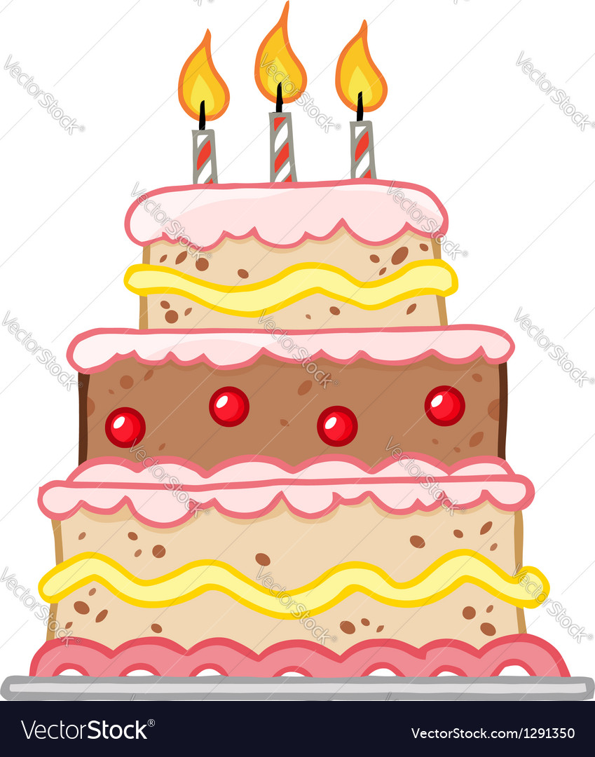 Cake with three candles vector | Price: 1 Credit (USD $1)