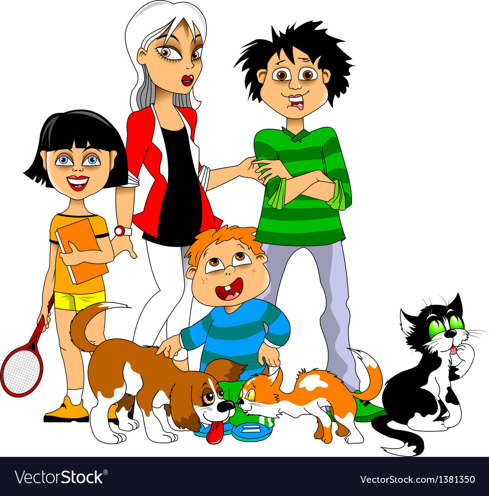 Children and pets vector | Price: 1 Credit (USD $1)