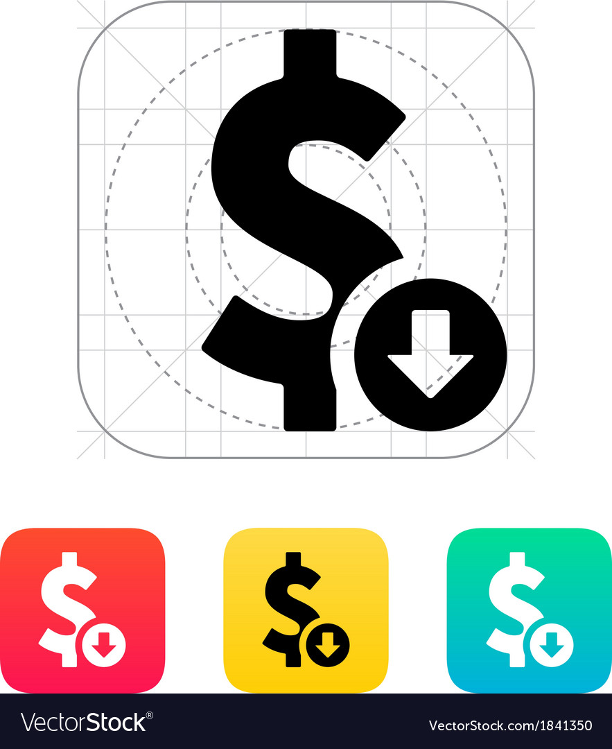 Dollar exchange rate down icon vector | Price: 1 Credit (USD $1)
