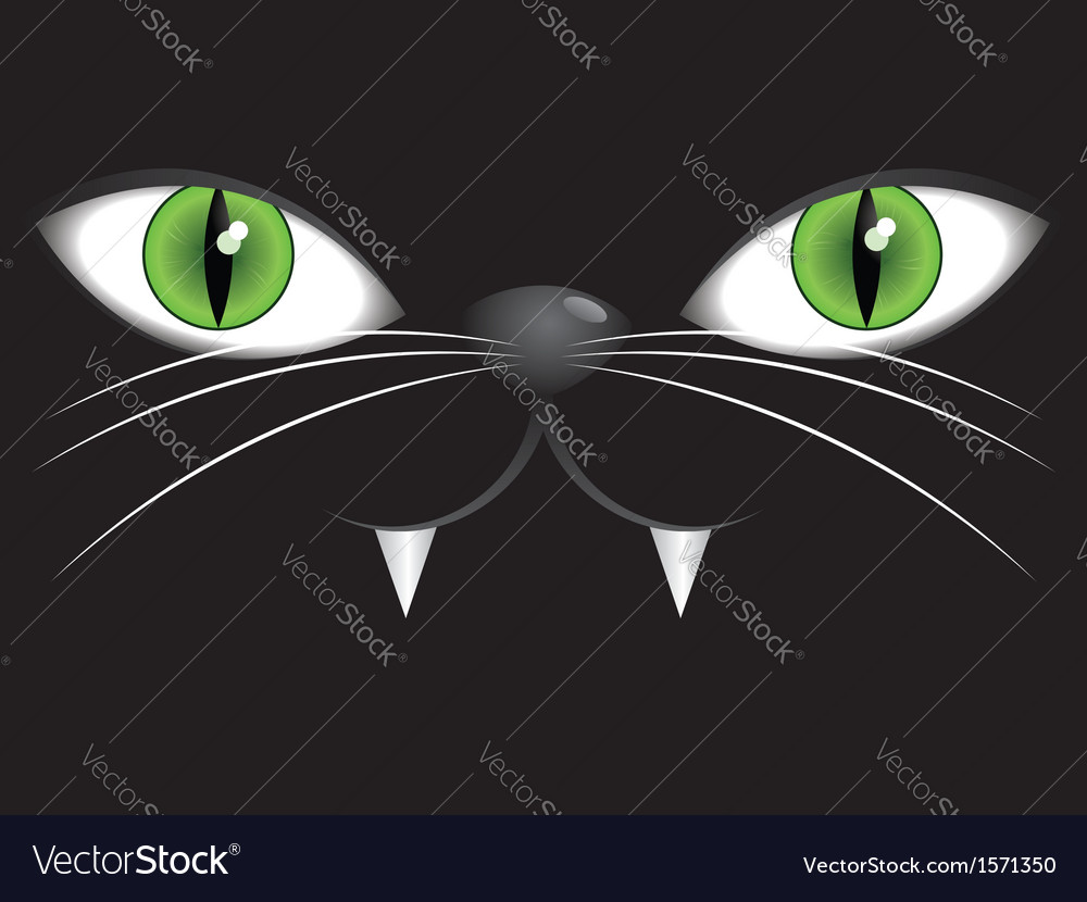 Face of black cat with green eyes vector | Price: 1 Credit (USD $1)