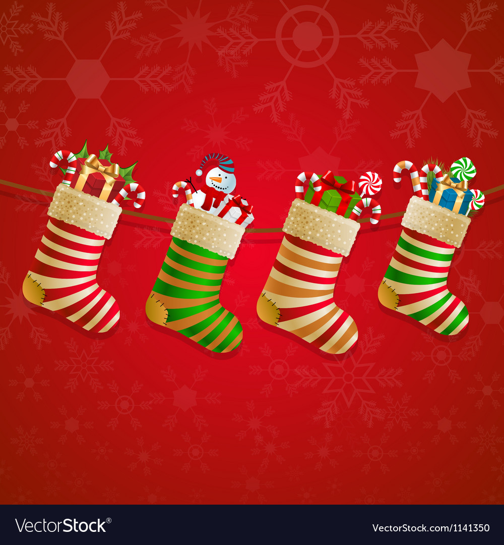 Hanging christmas socks with present vector | Price: 1 Credit (USD $1)