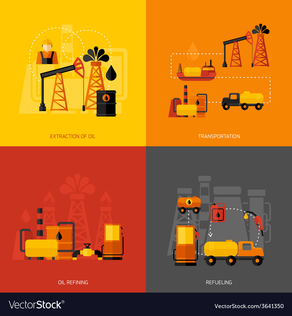 Oil industry flat vector | Price: 1 Credit (USD $1)