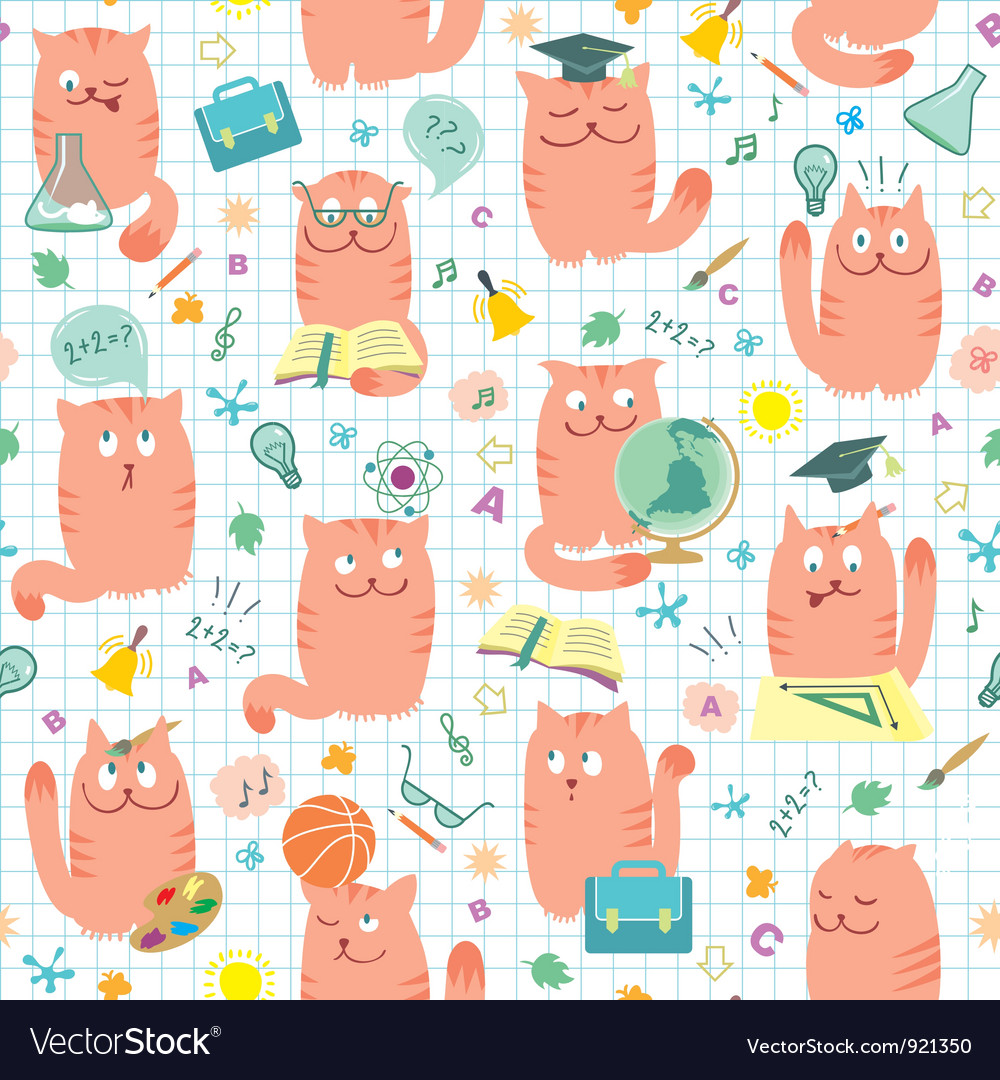 Seamless pattern pink cats vector | Price:  Credit (USD $)