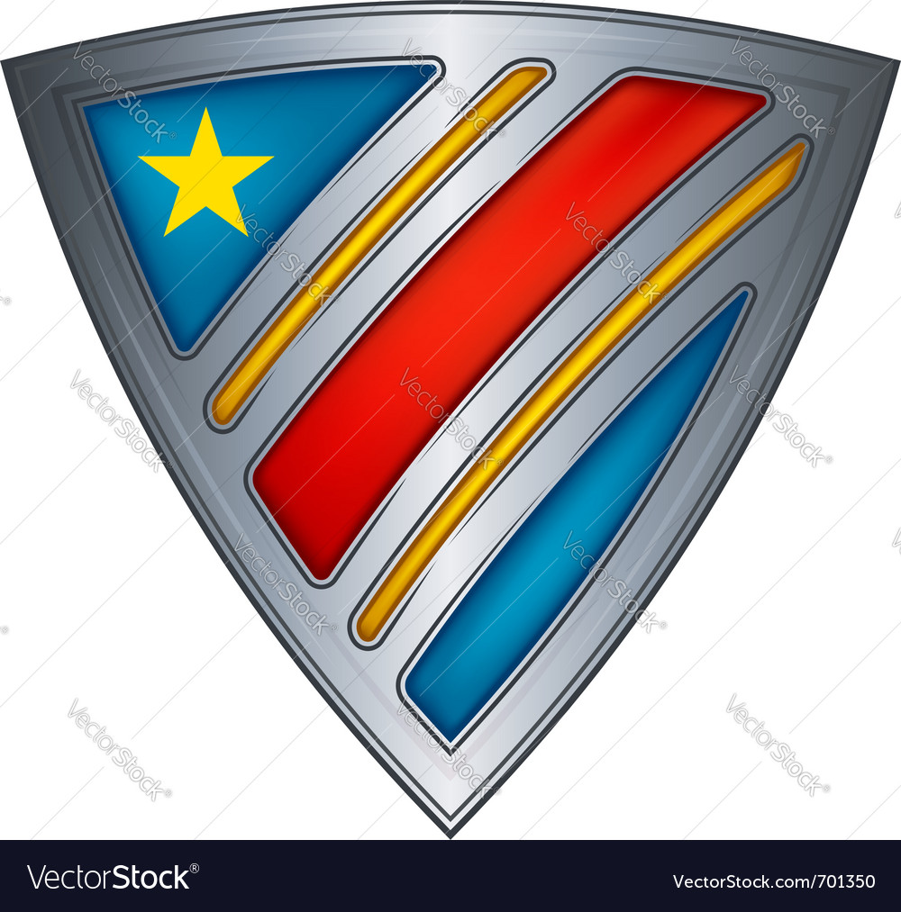 Steel shield with flag congo vector | Price: 1 Credit (USD $1)