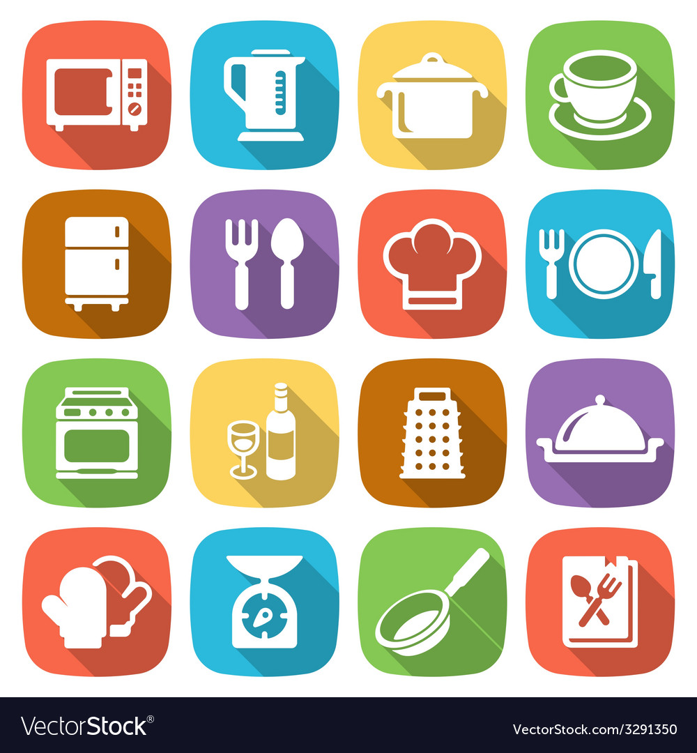 Trendy flat kitchen and cooking icons vector | Price: 1 Credit (USD $1)