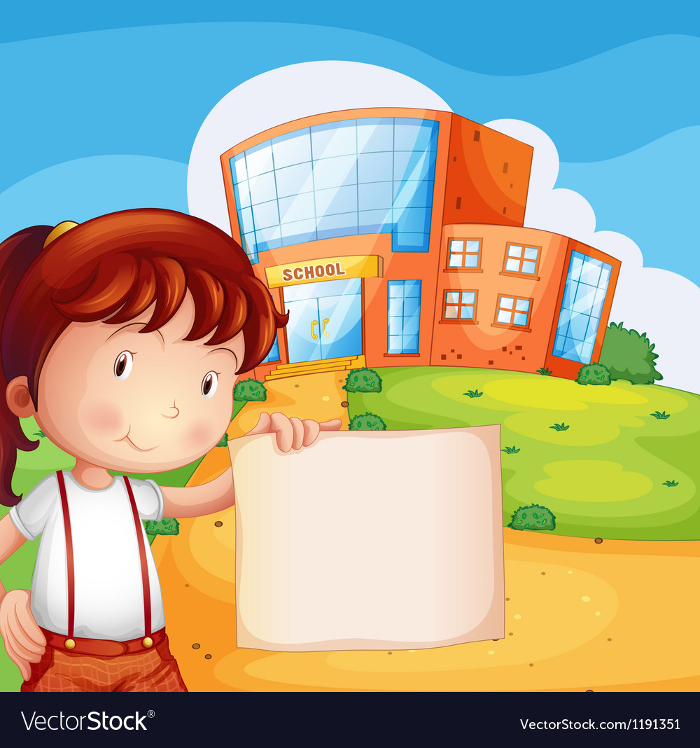 A kid in front of the school with an empty paper vector | Price: 1 Credit (USD $1)