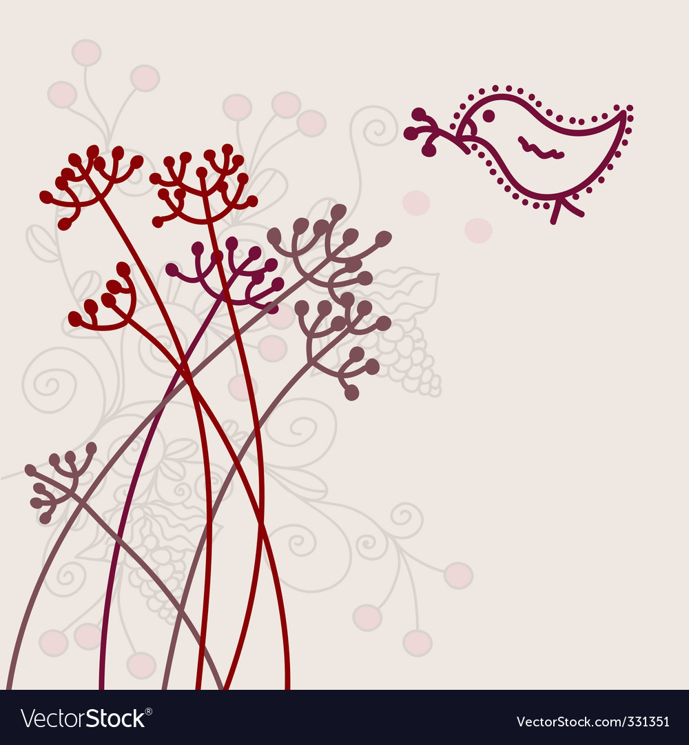 Card with bird vector | Price: 1 Credit (USD $1)