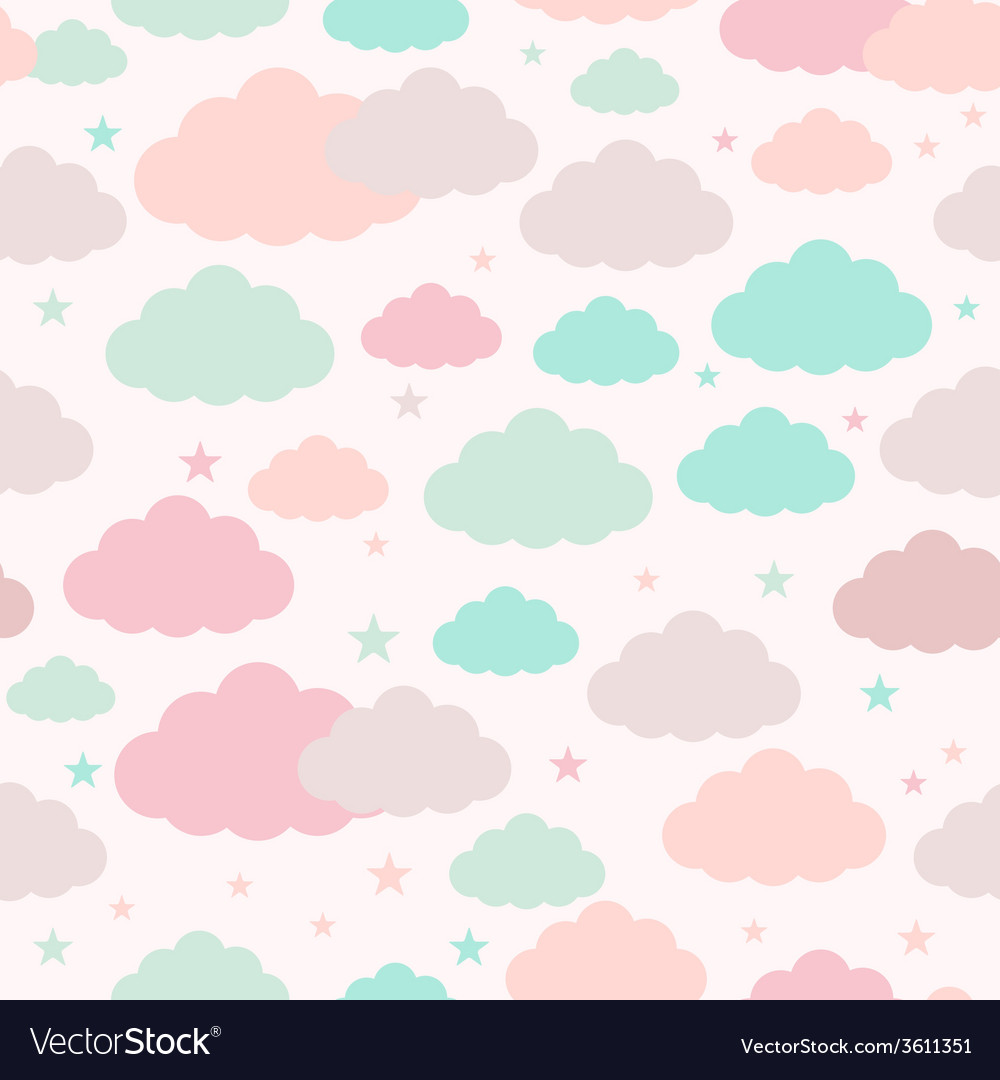 Childish seamless background with clouds and stars vector | Price: 1 Credit (USD $1)