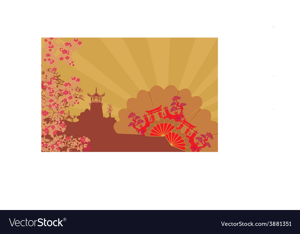 Decorative chinese landscape and beautiful fans vector   Price: 1 Credit (USD $1)