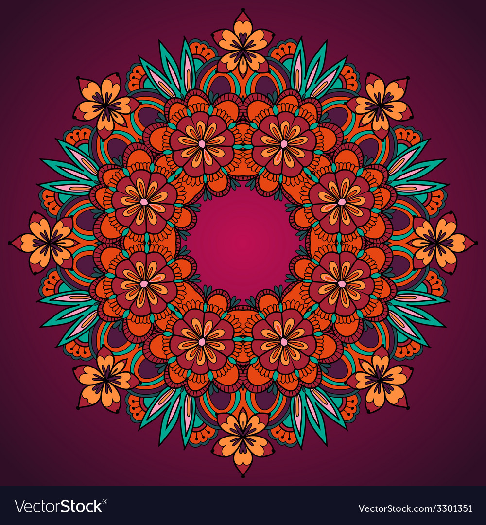 Elegant template vintage flowers lace ornament vector | Price: 1 Credit (USD $1)