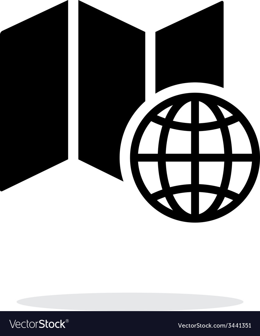 Globe map icon on white background vector | Price: 1 Credit (USD $1)
