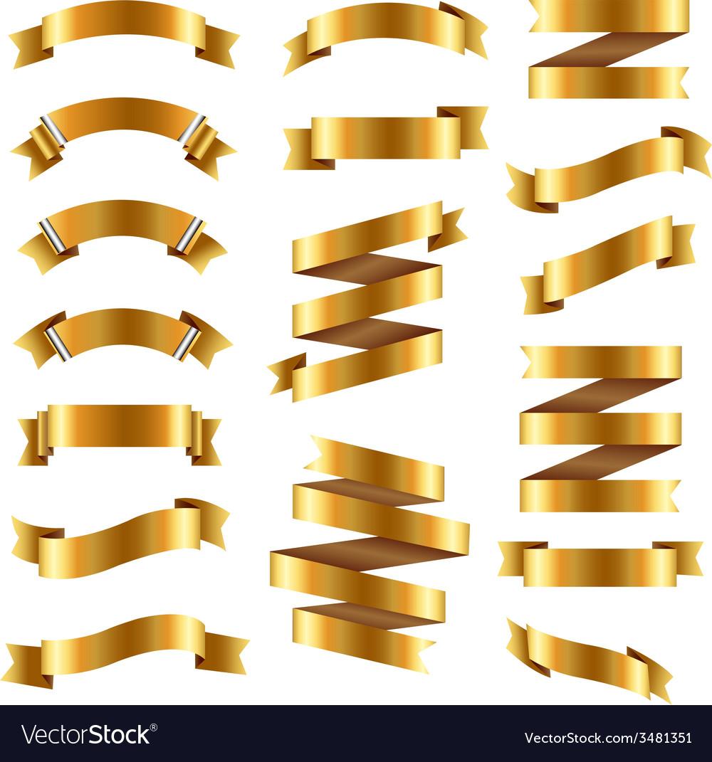 Golden ribbon big set vector