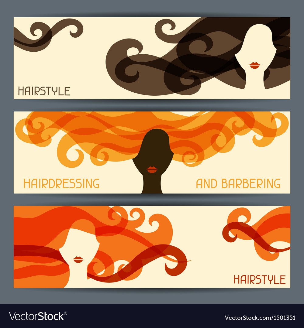 Hairstyle horizontal banners vector | Price: 1 Credit (USD $1)