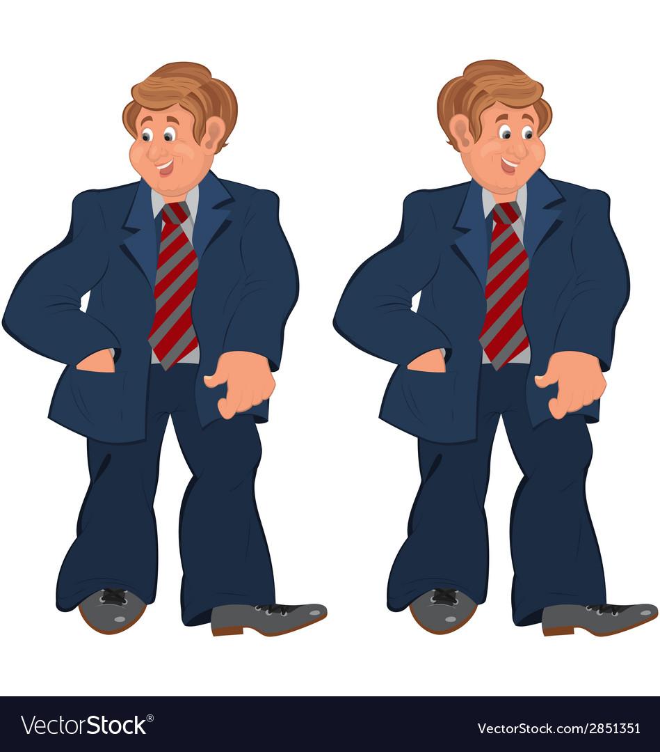 Happy cartoon man standing in striped tie vector | Price: 1 Credit (USD $1)