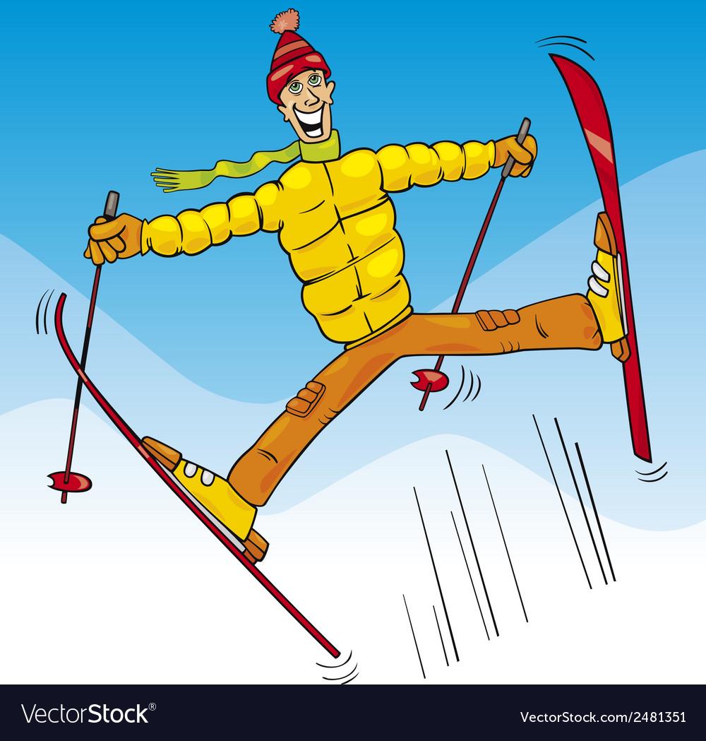Man jump on ski cartoon vector | Price: 1 Credit (USD $1)