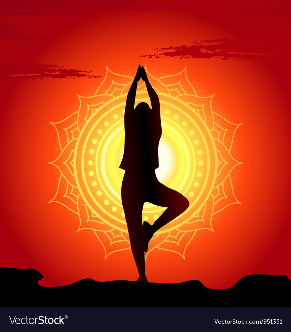 Meditating and doing yoga woman vector | Price: 1 Credit (USD $1)