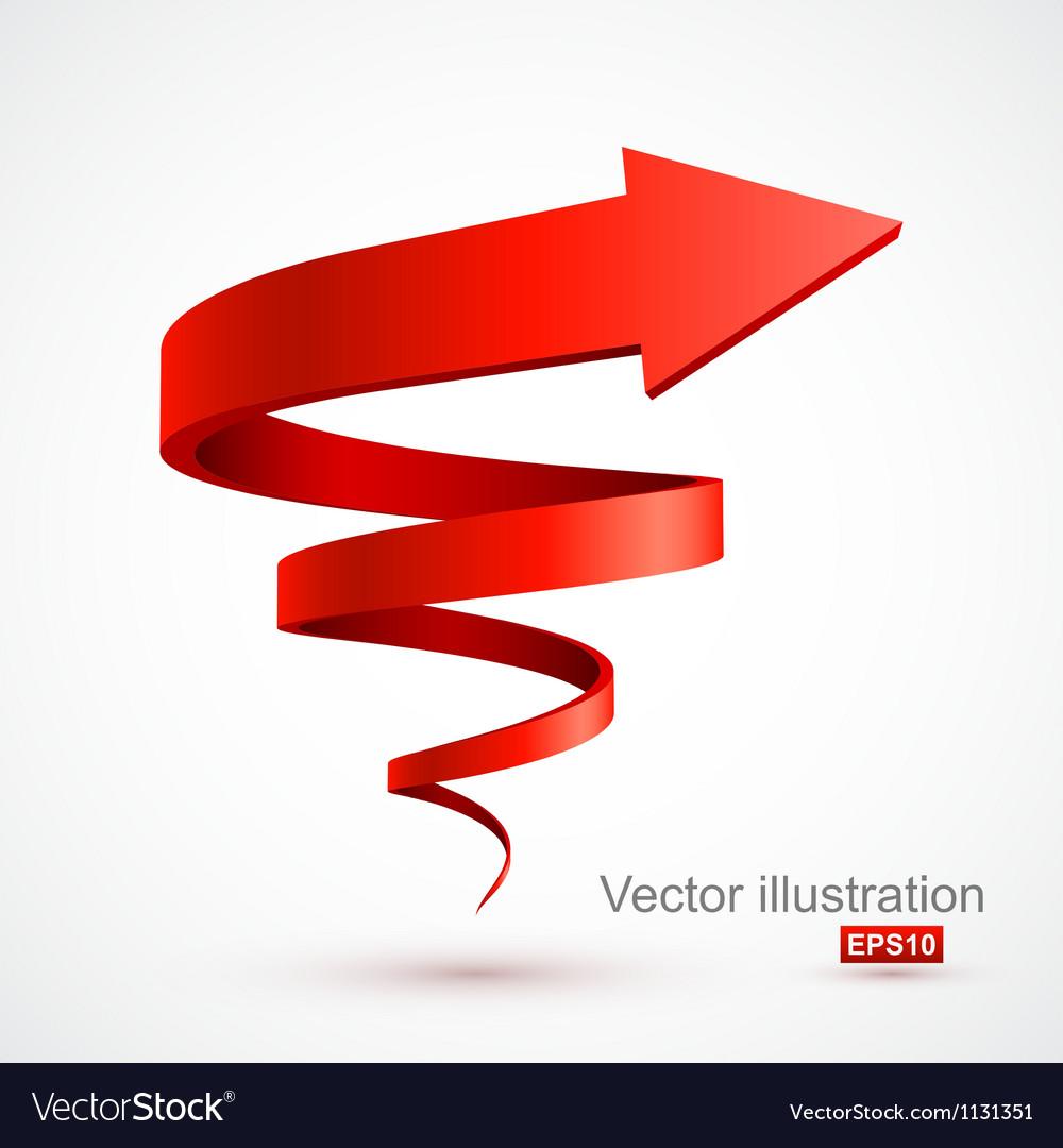 Red spiral arrow 3d vector