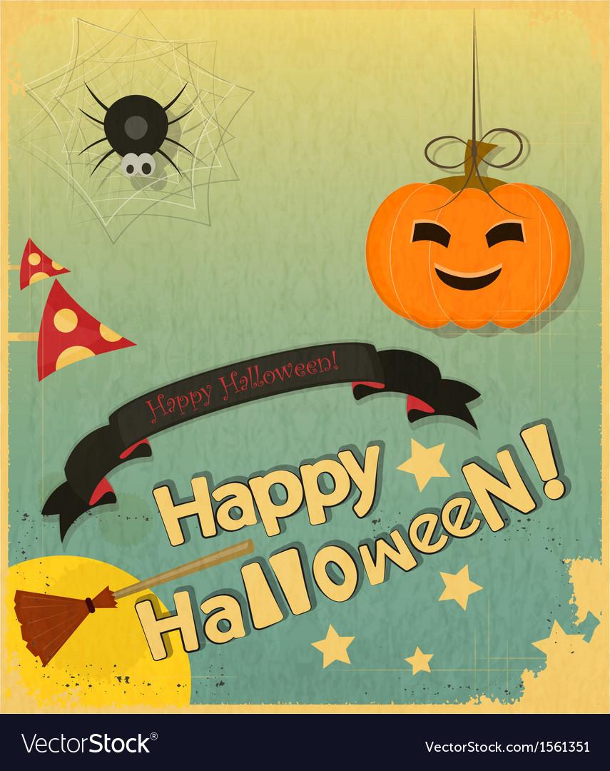 Retro halloween card vector   Price: 1 Credit (USD $1)