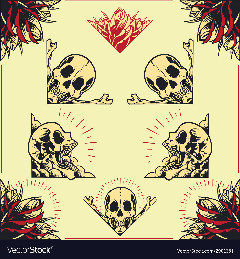 Skull and rose frames set 01 vector | Price: 1 Credit (USD $1)