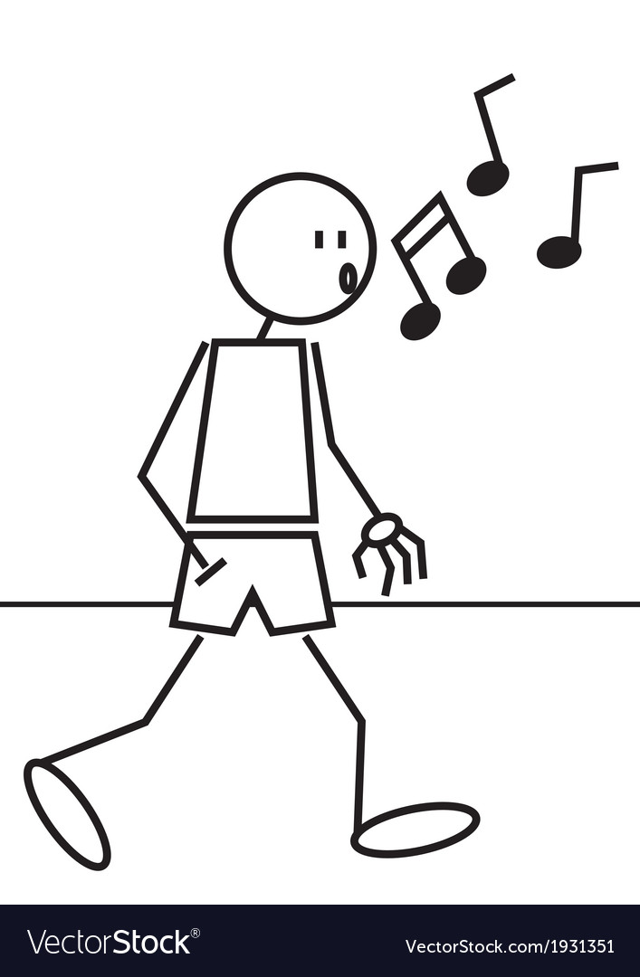 Stick figure whistling vector | Price: 1 Credit (USD $1)