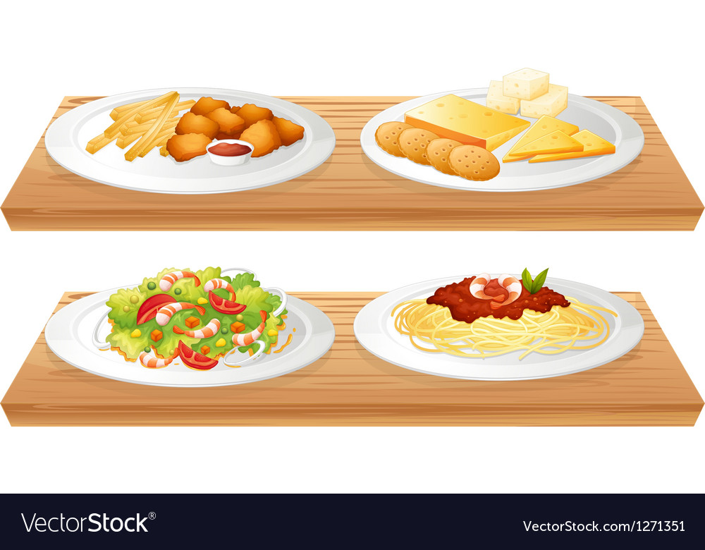 Two wooden trays with four plates full of foods vector | Price: 1 Credit (USD $1)