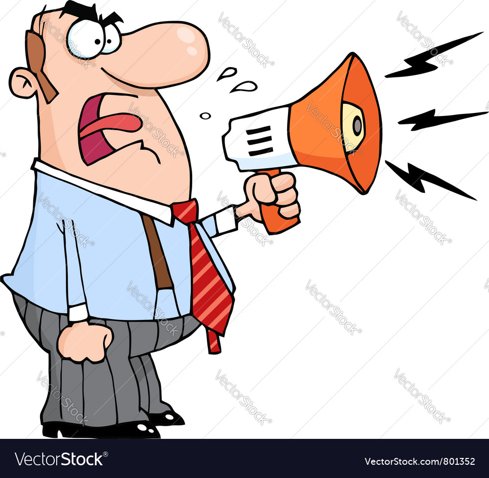 Angry boss man screaming into megaphone vector | Price: 1 Credit (USD $1)