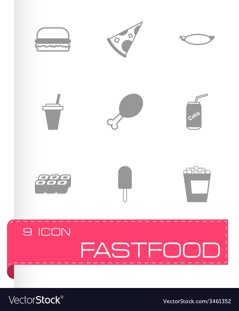 Black fastfood icon set vector | Price: 1 Credit (USD $1)