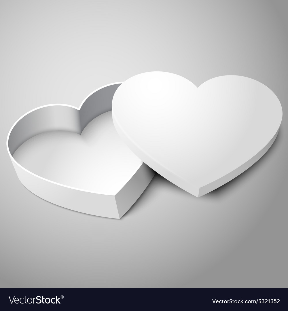 Realistic blank white opened heart shape box vector | Price: 1 Credit (USD $1)