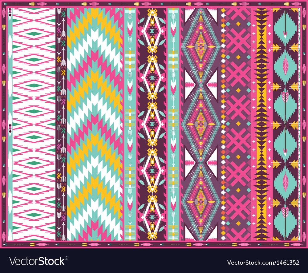 Seamless colorful aztec geometric pattern vector | Price: 1 Credit (USD $1)