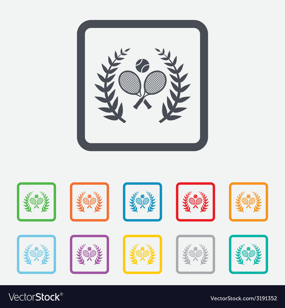 Tennis rackets with ball icon sport symbol vector | Price: 1 Credit (USD $1)