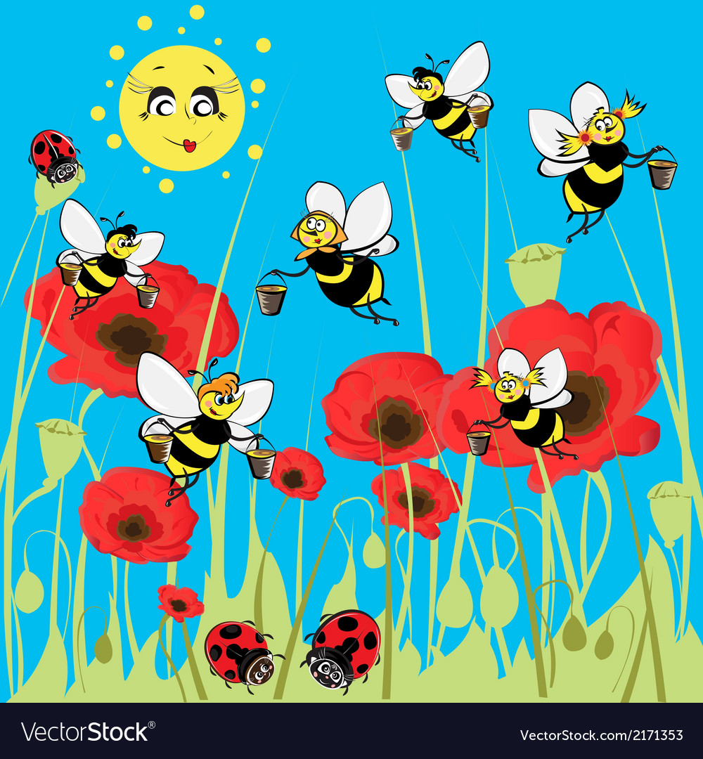 Bees ladybirds on the meadow under the sun vector | Price: 1 Credit (USD $1)