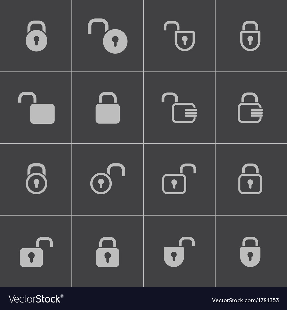 Black lock icons set vector | Price: 1 Credit (USD $1)