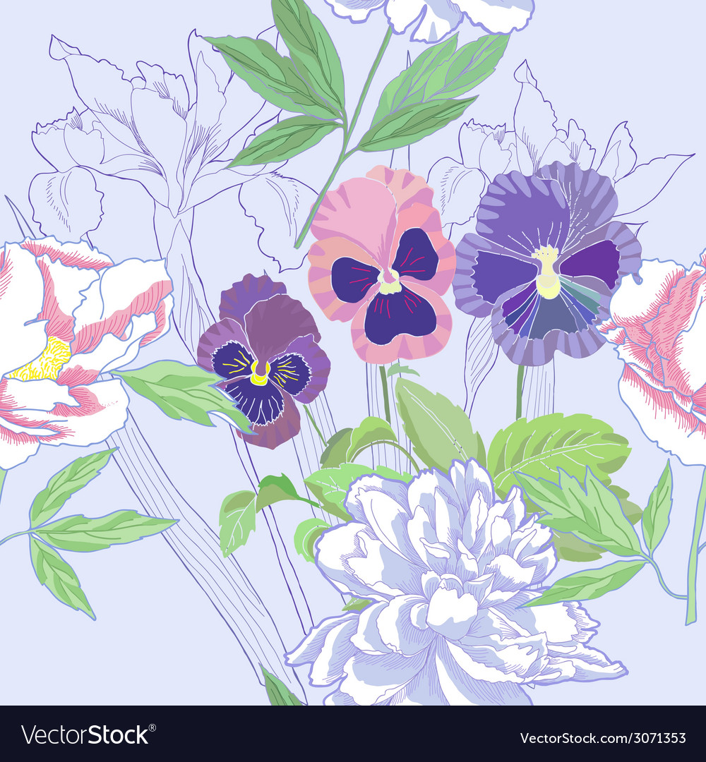 Blue seamless pattern with peonies and pansy vector | Price: 1 Credit (USD $1)