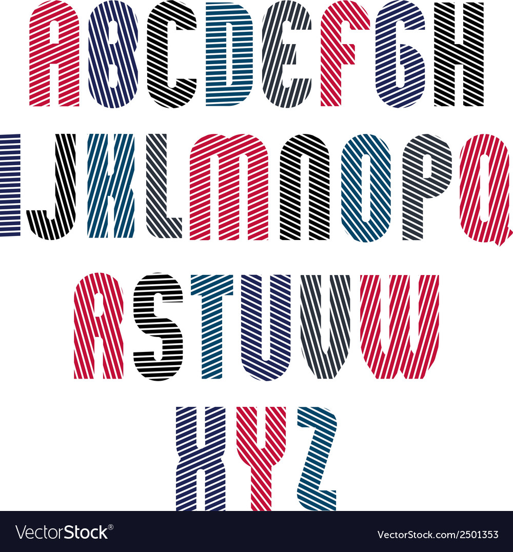 Decorative striped retro font geometric bright vector | Price: 1 Credit (USD $1)
