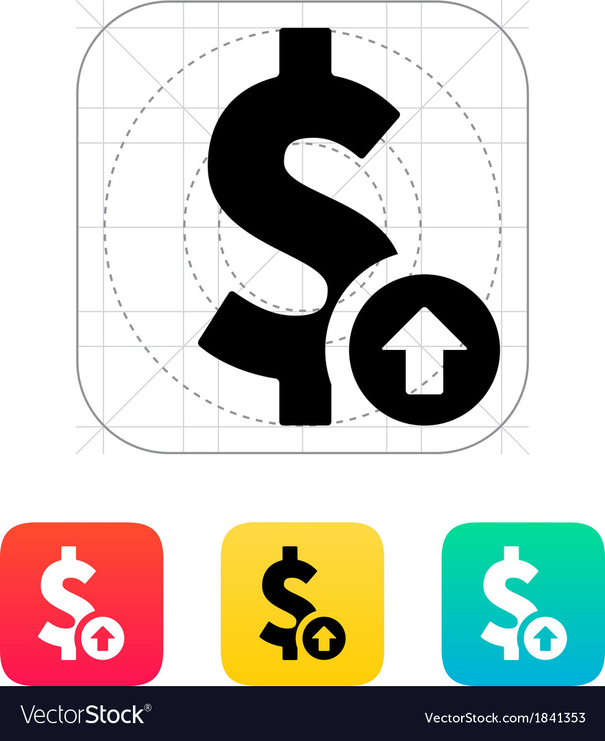 Dollar exchange rate up icon vector | Price: 1 Credit (USD $1)