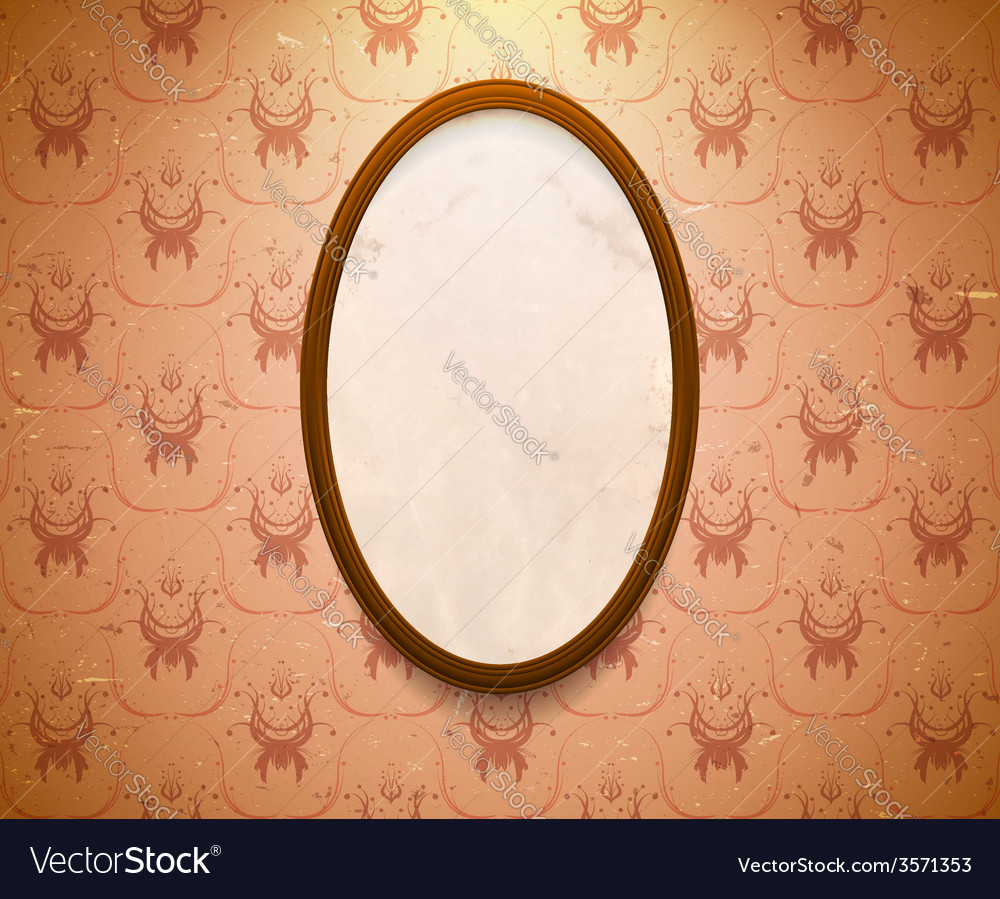 Elliptic wooden frame vector | Price: 1 Credit (USD $1)
