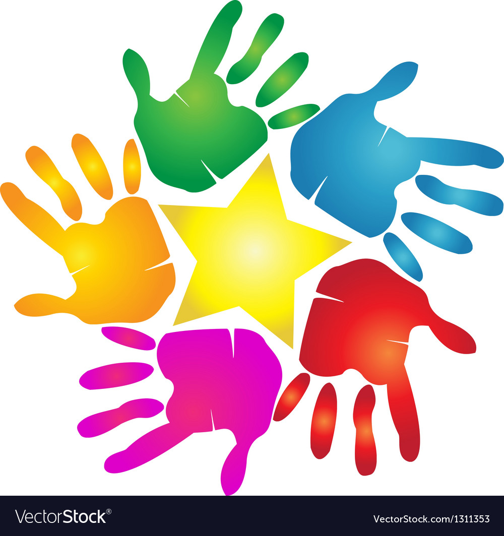 Hands print in vivid colors logo vector | Price: 1 Credit (USD $1)