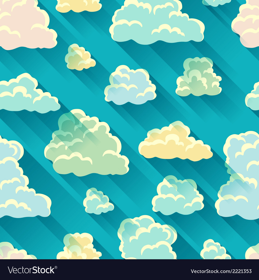 Seamless abstract pattern with sky and clouds vector | Price: 1 Credit (USD $1)