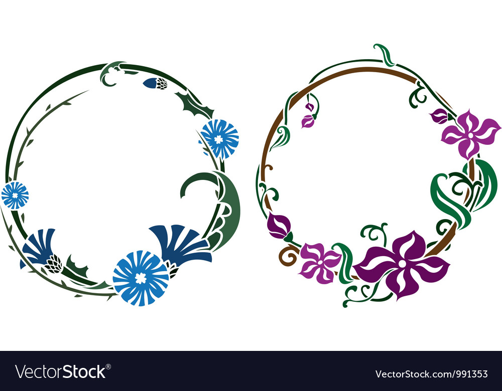 Two wreath in art nouveau style vector | Price: 1 Credit (USD $1)