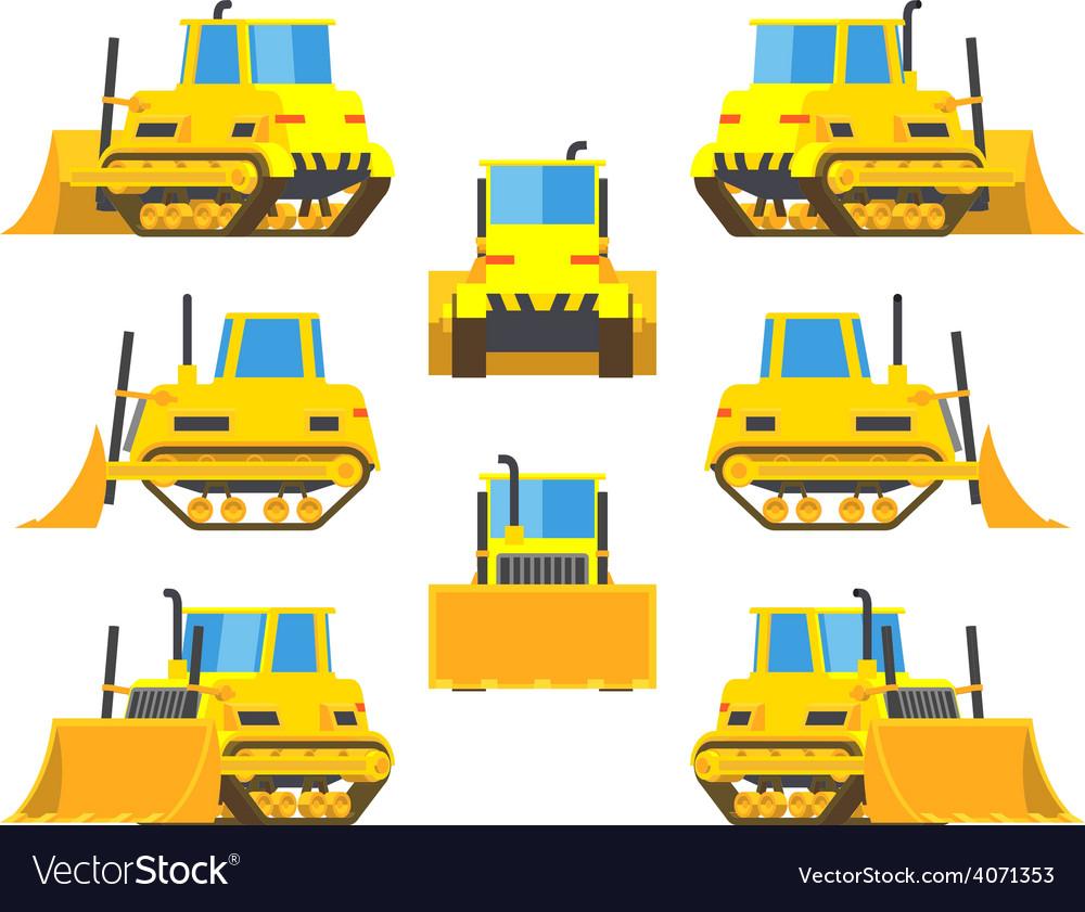 Yellow bulldozer vector | Price: 1 Credit (USD $1)