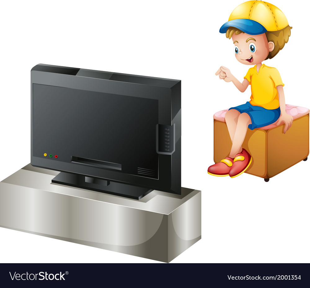 A boy watching tv vector | Price: 3 Credit (USD $3)