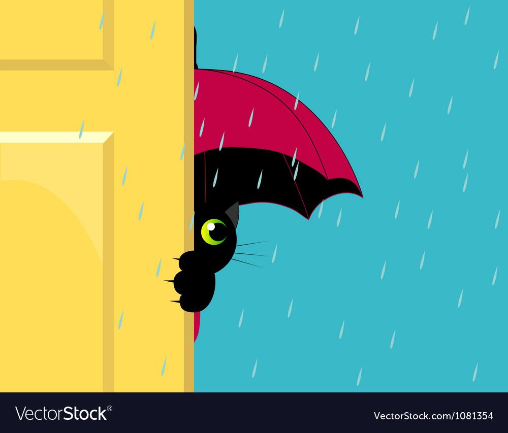 Cat under an umbrella vector | Price: 1 Credit (USD $1)