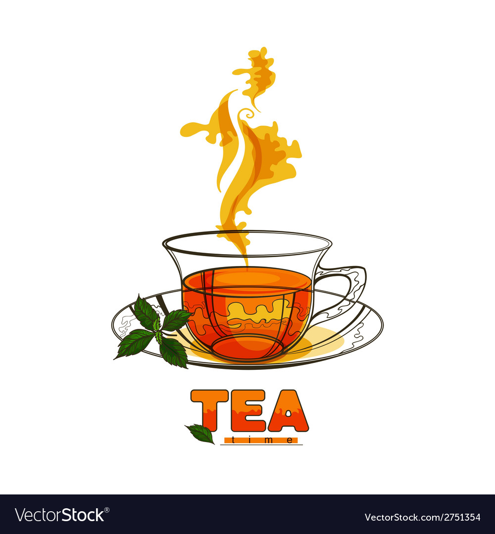 Cup of tea with mint leaves vector | Price: 1 Credit (USD $1)