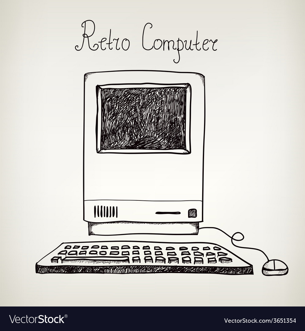 Hand drawn doodle retro computer vector | Price: 1 Credit (USD $1)
